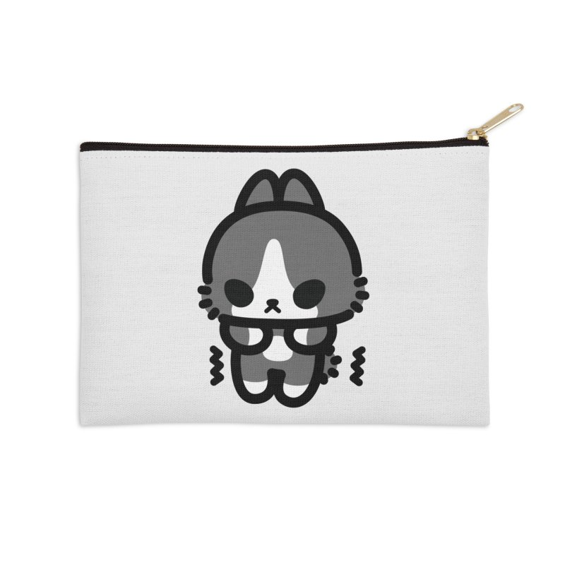 scaredy scaredy grey white bunny Accessories Zip Pouch by Ziqi - Monster Little
