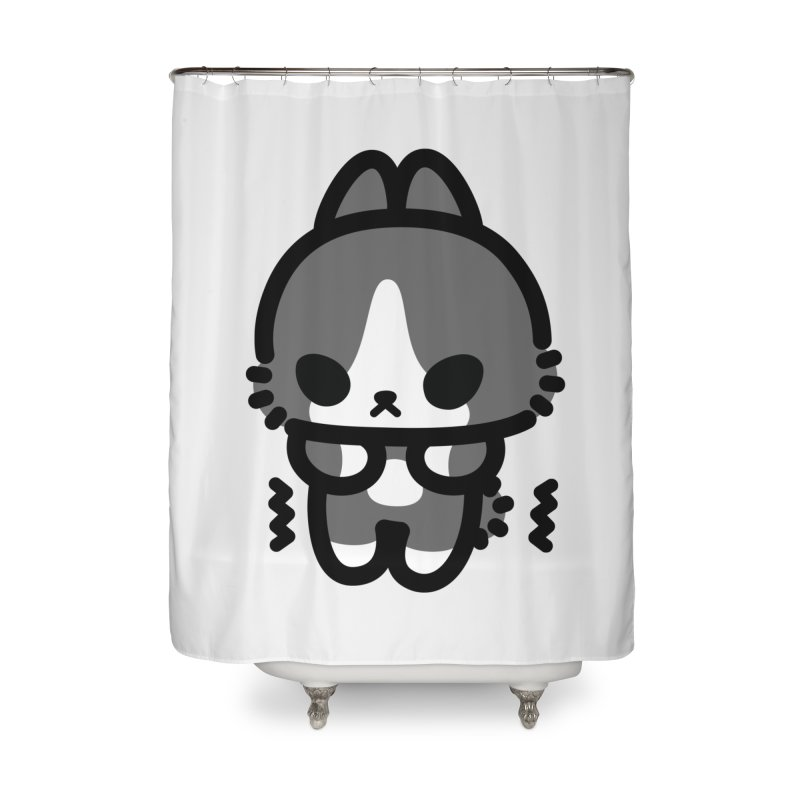 scaredy scaredy grey white bunny Home Shower Curtain by Ziqi - Monster Little