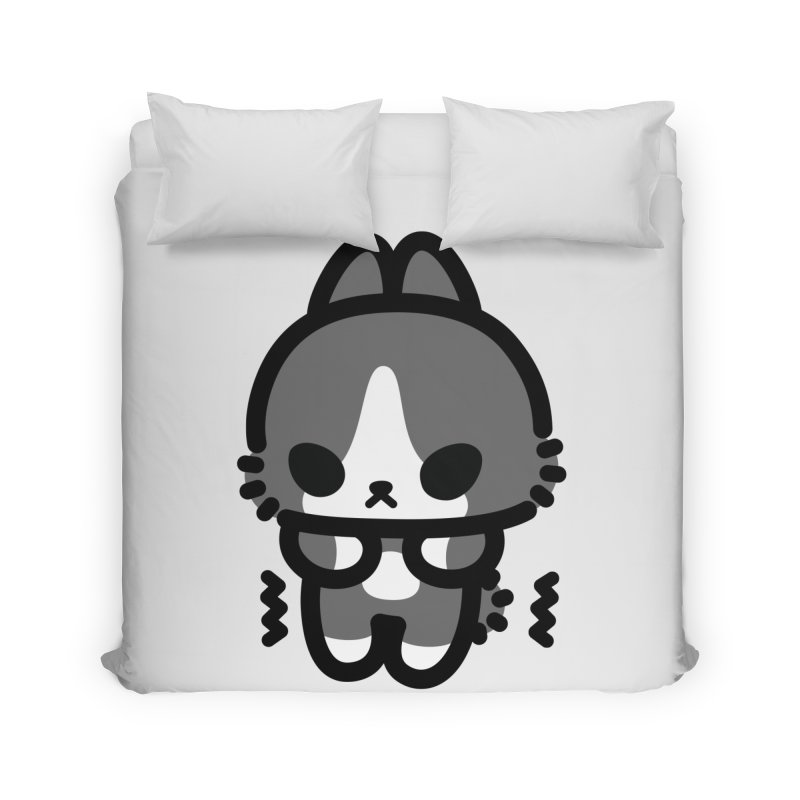 scaredy scaredy grey white bunny Home Duvet by Ziqi - Monster Little