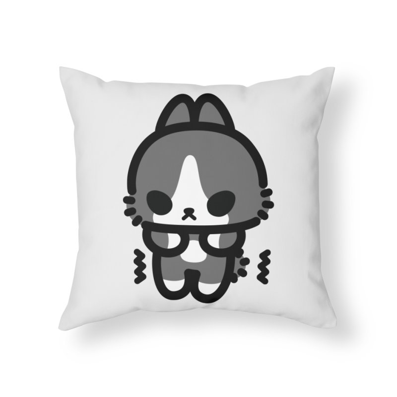 scaredy scaredy grey white bunny Home Throw Pillow by Ziqi - Monster Little