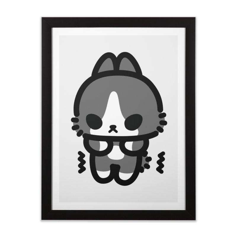 scaredy scaredy grey white bunny Home Framed Fine Art Print by Ziqi - Monster Little