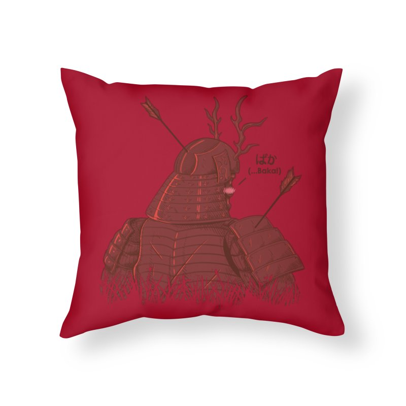 Tsundere Samurai Home Throw Pillow by Wolf Bite Shop