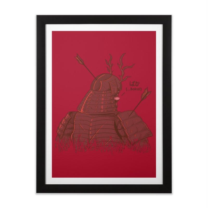 Tsundere Samurai Home Framed Fine Art Print by Wolf Bite Shop