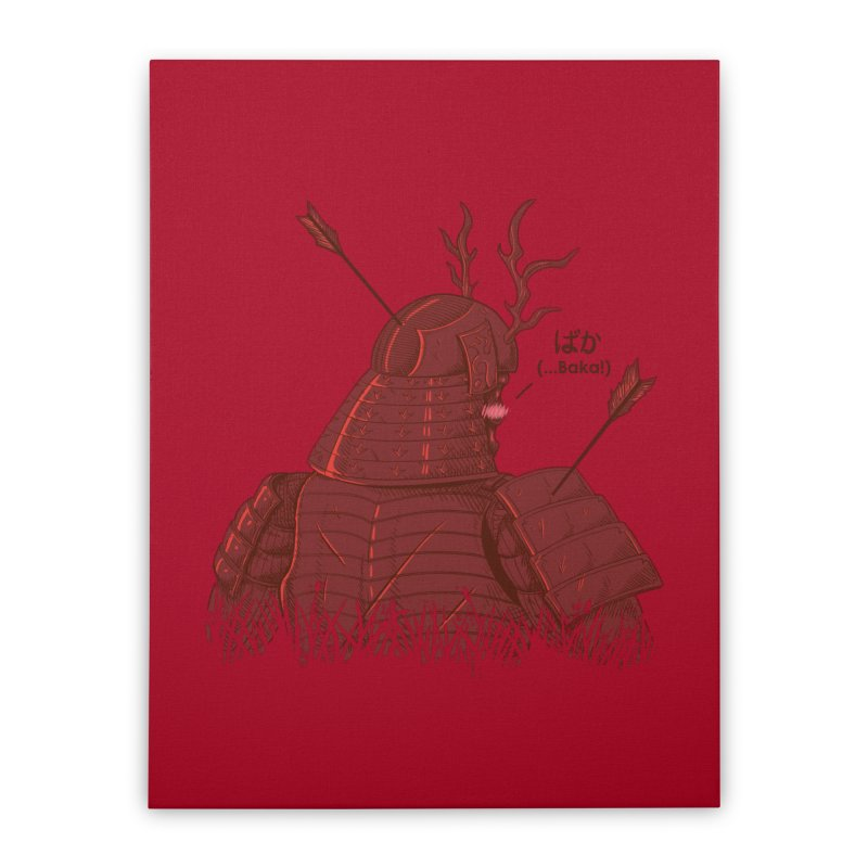 Tsundere Samurai Home Stretched Canvas by Wolf Bite Shop