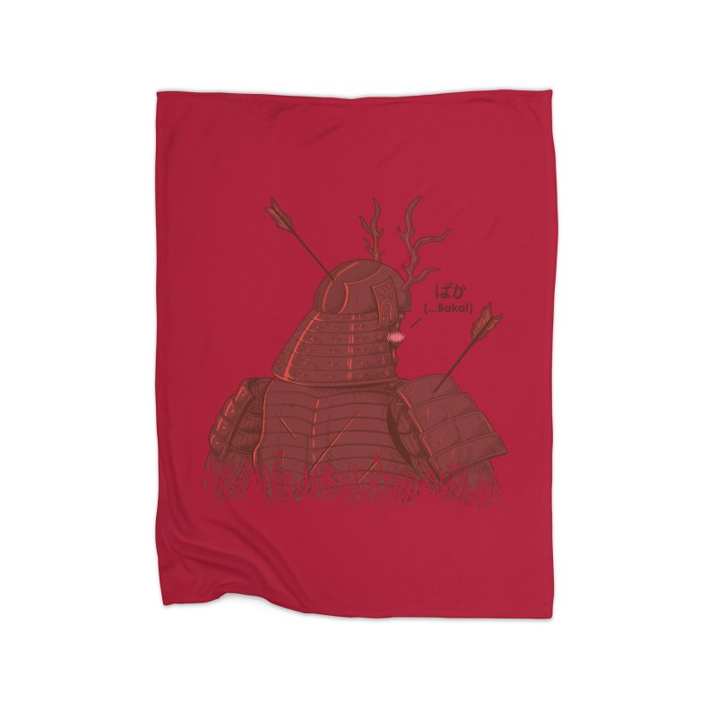 Tsundere Samurai Home Fleece Blanket Blanket by Wolf Bite Shop