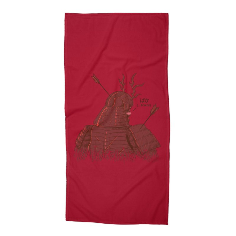 Tsundere Samurai Accessories Beach Towel by Wolf Bite Shop