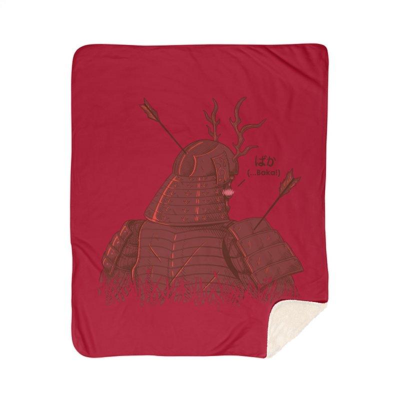 Tsundere Samurai Home Sherpa Blanket Blanket by Wolf Bite Shop