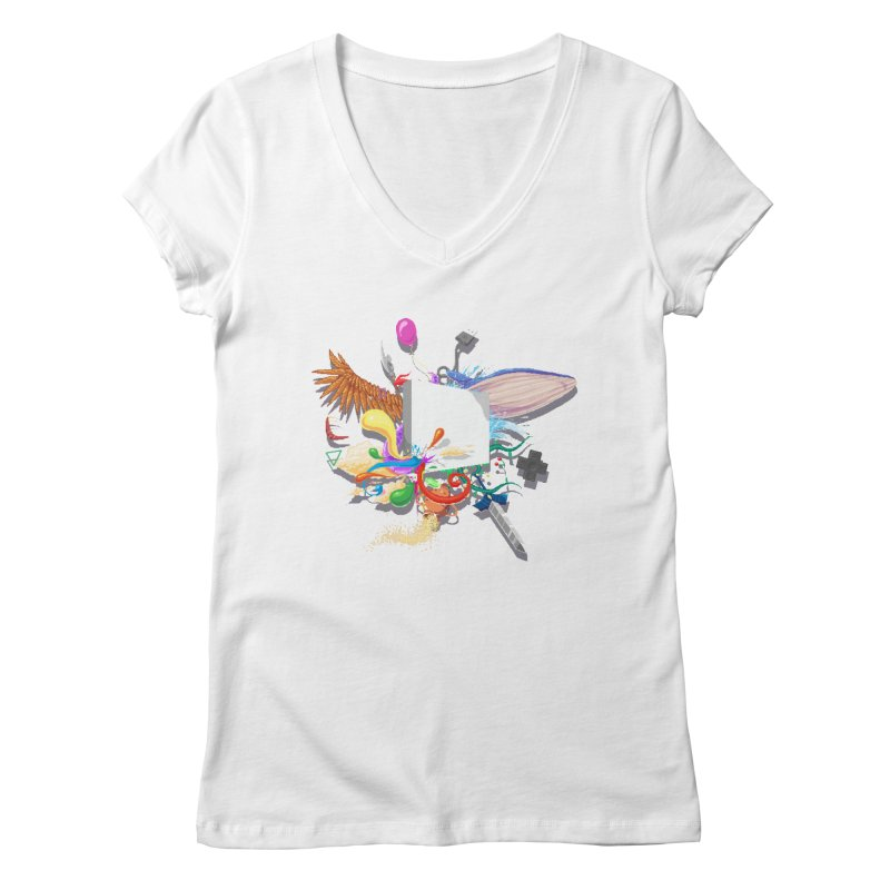 Pixel Story Women's Regular V-Neck by Wolf Bite Shop