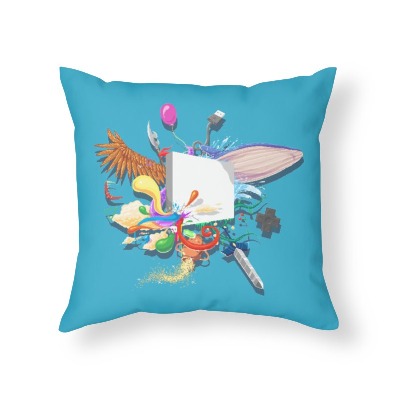 Pixel Story Home Throw Pillow by Wolf Bite Shop
