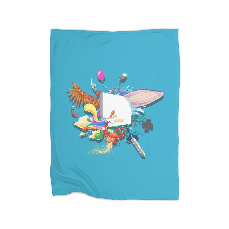 Pixel Story Home Fleece Blanket Blanket by Wolf Bite Shop