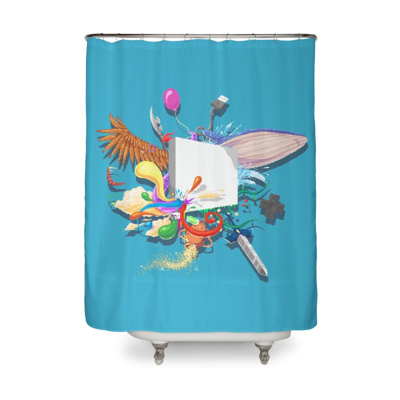 Pixel Story Home Shower Curtain by Wolf Bite Shop
