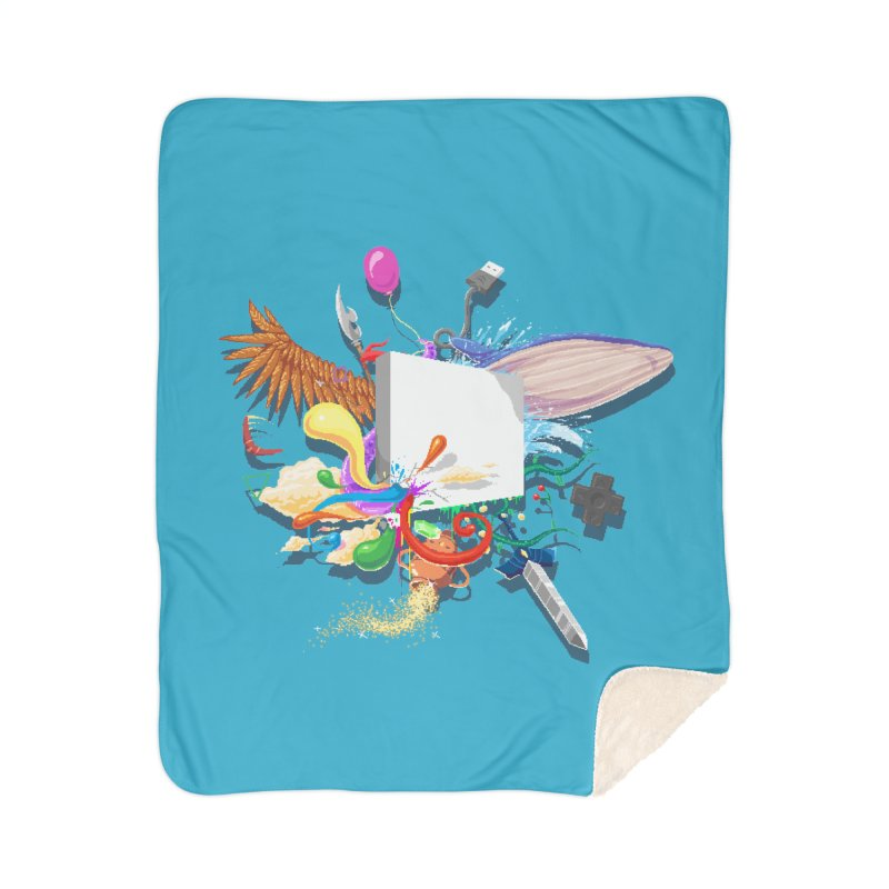 Pixel Story Home Sherpa Blanket Blanket by Wolf Bite Shop