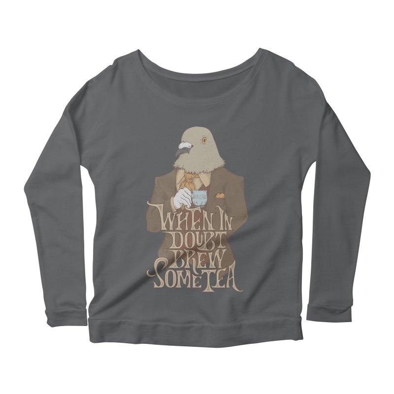 Brew Some Tea Women's Scoop Neck Longsleeve T-Shirt by Wolf Bite Shop