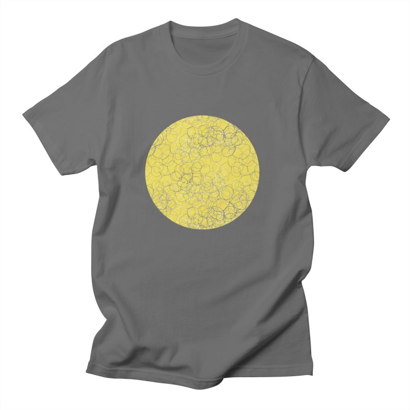 Yellow & Grey Stitched Circles Men's T-Shirt by Zoe Chapman Design