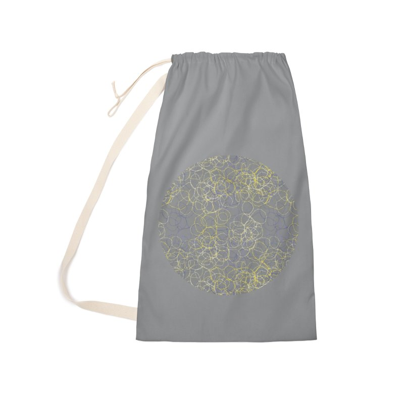 Grey & Yellow Stitched Circles Accessories Bag by Zoe Chapman Design