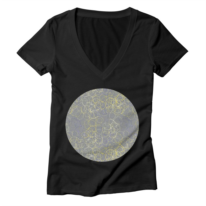Grey & Yellow Stitched Circles Women's V-Neck by Zoe Chapman Design