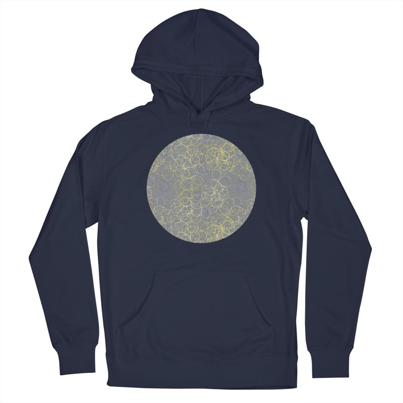 Grey & Yellow Stitched Circles Men's Pullover Hoody by Zoe Chapman Design
