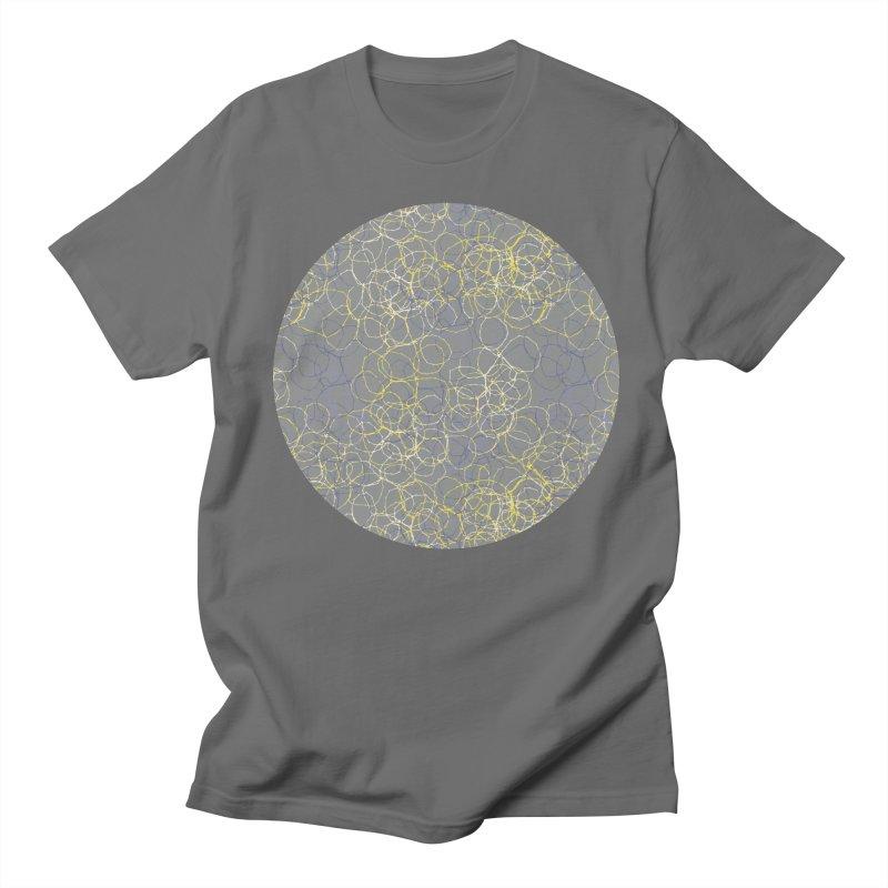 Grey & Yellow Stitched Circles Men's T-Shirt by Zoe Chapman Design