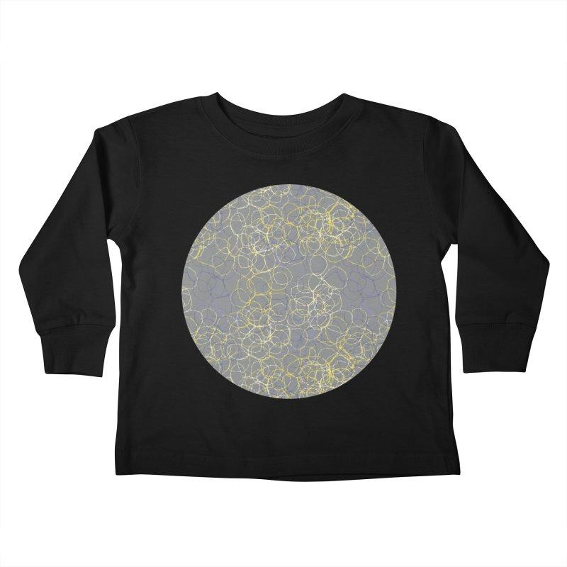Grey & Yellow Stitched Circles Kids Toddler Longsleeve T-Shirt by Zoe Chapman Design