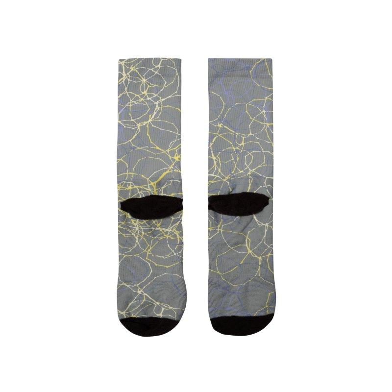 Grey & Yellow Stitched Circles Women's Socks by Zoe Chapman Design