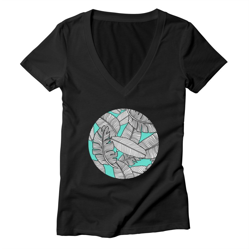 Tropical Leaves Monochrome on Mint/Aqua Women's V-Neck by Zoe Chapman Design