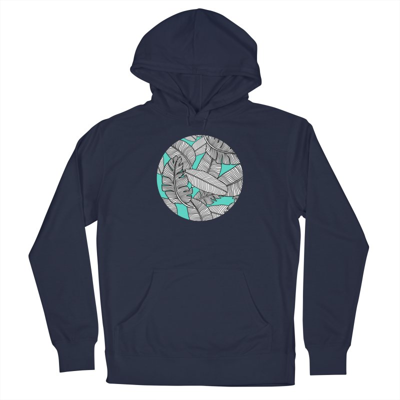 Tropical Leaves Monochrome on Mint/Aqua Men's Pullover Hoody by Zoe Chapman Design