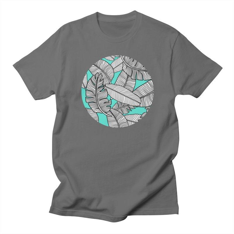 Tropical Leaves Monochrome on Mint/Aqua Men's T-Shirt by Zoe Chapman Design