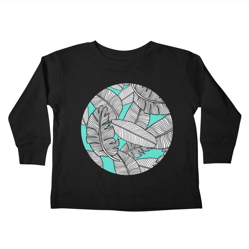 Tropical Leaves Monochrome on Mint/Aqua Kids Toddler Longsleeve T-Shirt by Zoe Chapman Design