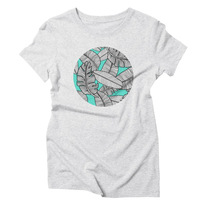 Tropical Leaves Monochrome on Mint/Aqua Women's T-Shirt by Zoe Chapman Design