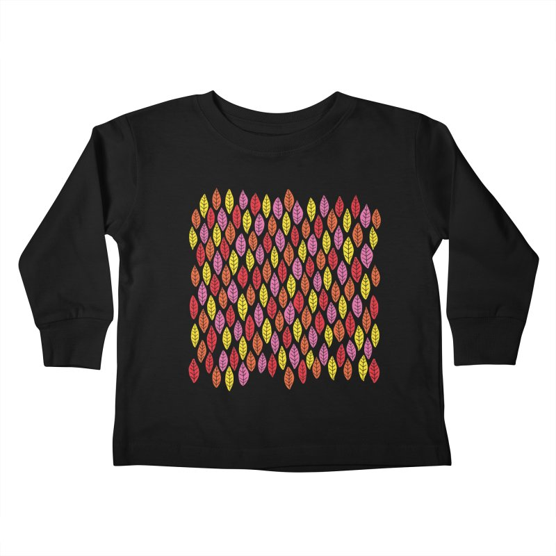 Bright Leaf Print on Pink Kids Toddler Longsleeve T-Shirt by Zoe Chapman Design