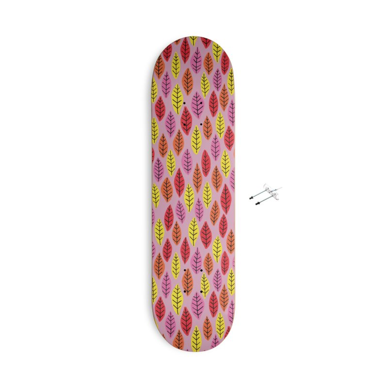 Bright Leaf Print on Pink Accessories Skateboard by Zoe Chapman Design
