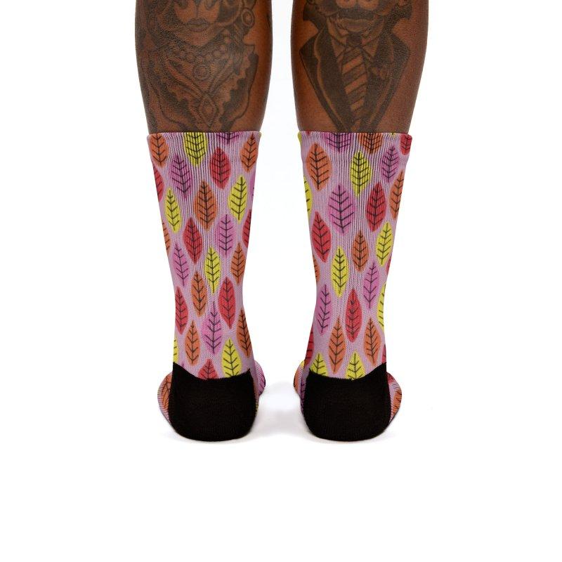 Bright Leaf Print on Pink Women's Socks by Zoe Chapman Design