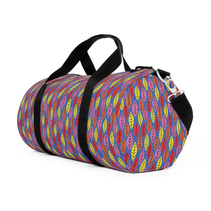 Bright Leaf Design on Blue Accessories Bag by Zoe Chapman Design