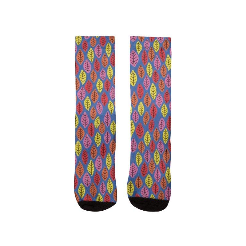 Bright Leaf Design on Blue Women's Socks by Zoe Chapman Design