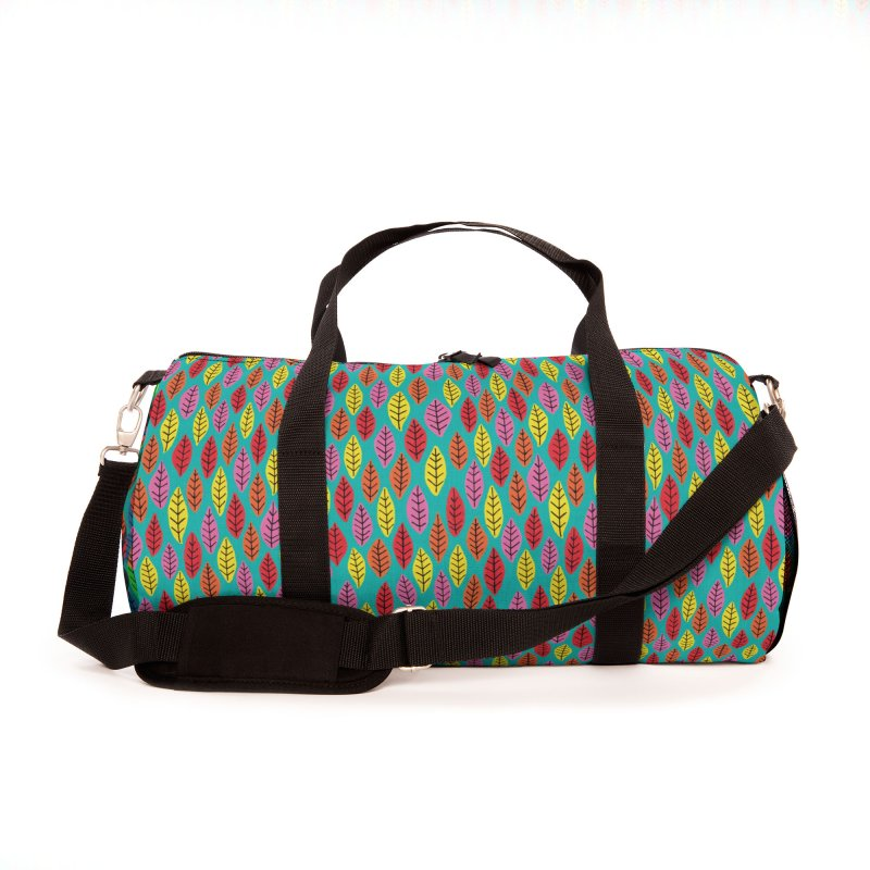 Rainbow Bright Leaf Print on Green Accessories Bag by Zoe Chapman Design