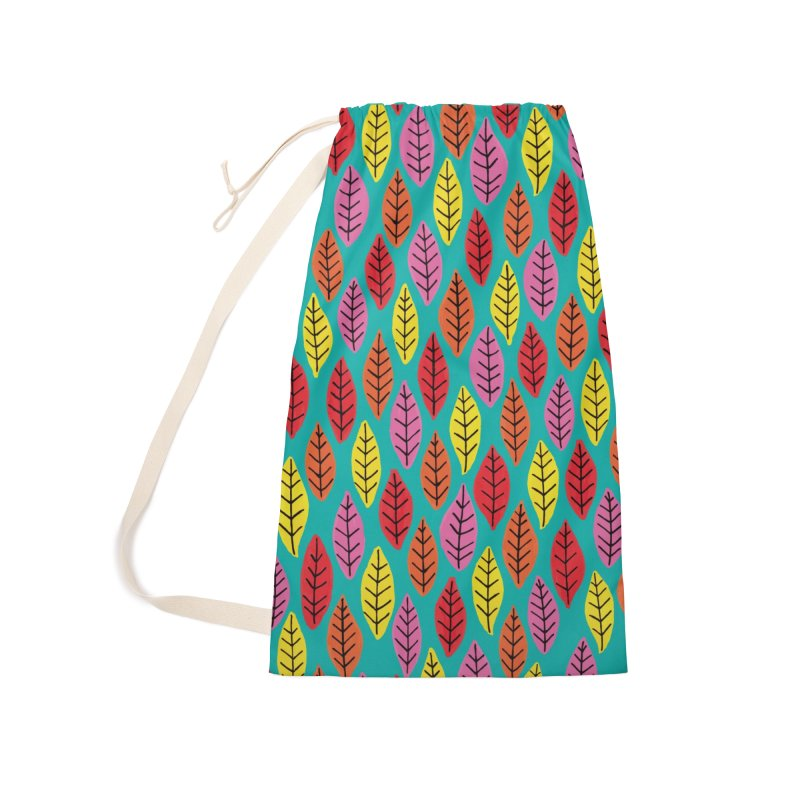 Rainbow Bright Leaf Print on Green Accessories Bag by Zoe Chapman Design