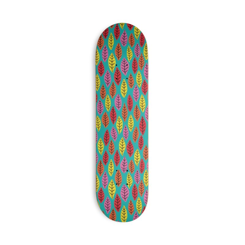 Rainbow Bright Leaf Print on Green Accessories Skateboard by Zoe Chapman Design