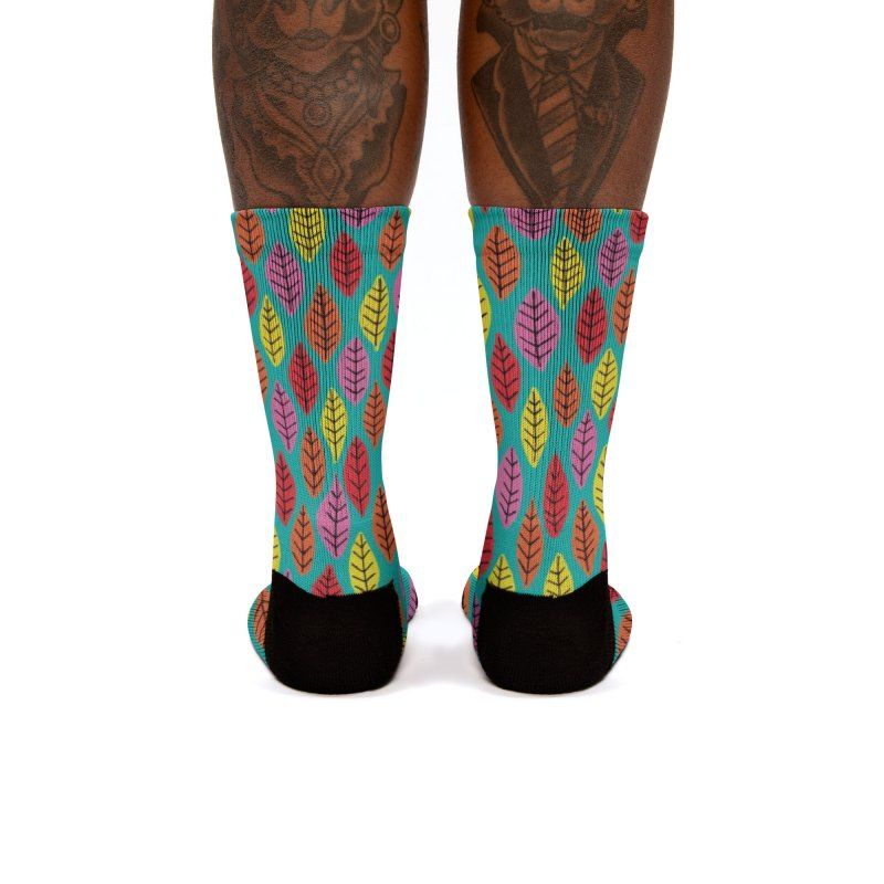 Rainbow Bright Leaf Print on Green Women's Socks by Zoe Chapman Design