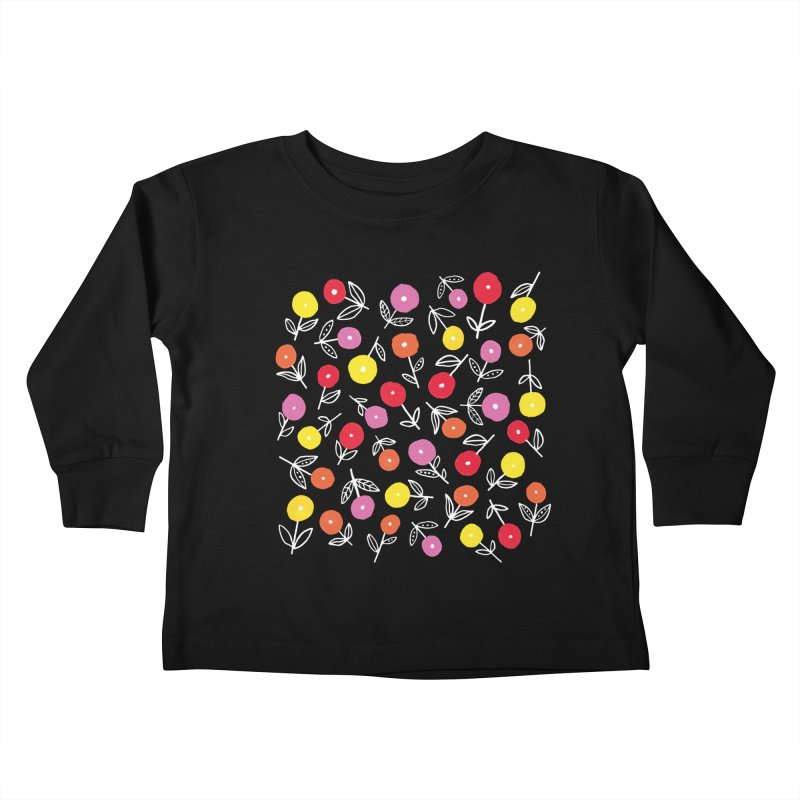Spring Floral on Yellow Kids Toddler Longsleeve T-Shirt by Zoe Chapman Design