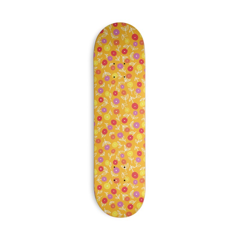 Spring Floral on Yellow Accessories Skateboard by Zoe Chapman Design