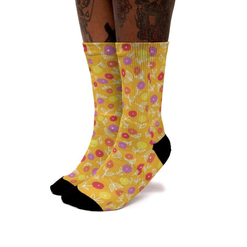 Spring Floral on Yellow Women's Socks by Zoe Chapman Design
