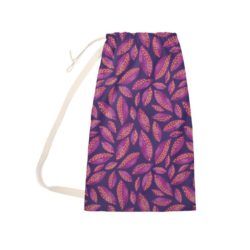 Purple & Lilac Autumn Leaves Accessories Bag by Zoe Chapman Design