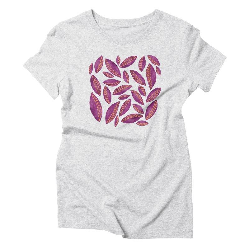 Purple & Lilac Autumn Leaves Women's T-Shirt by Zoe Chapman Design
