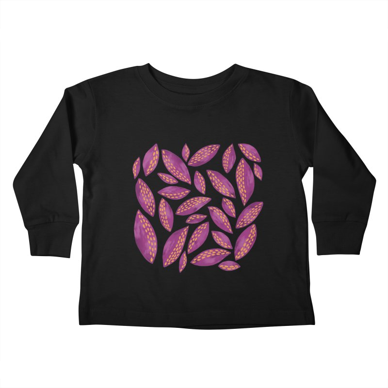 Autumn Leaves on Pink Kids Toddler Longsleeve T-Shirt by Zoe Chapman Design