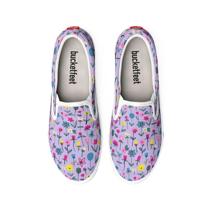 Lilac Flower Garden Men's Shoes by Zoe Chapman Design