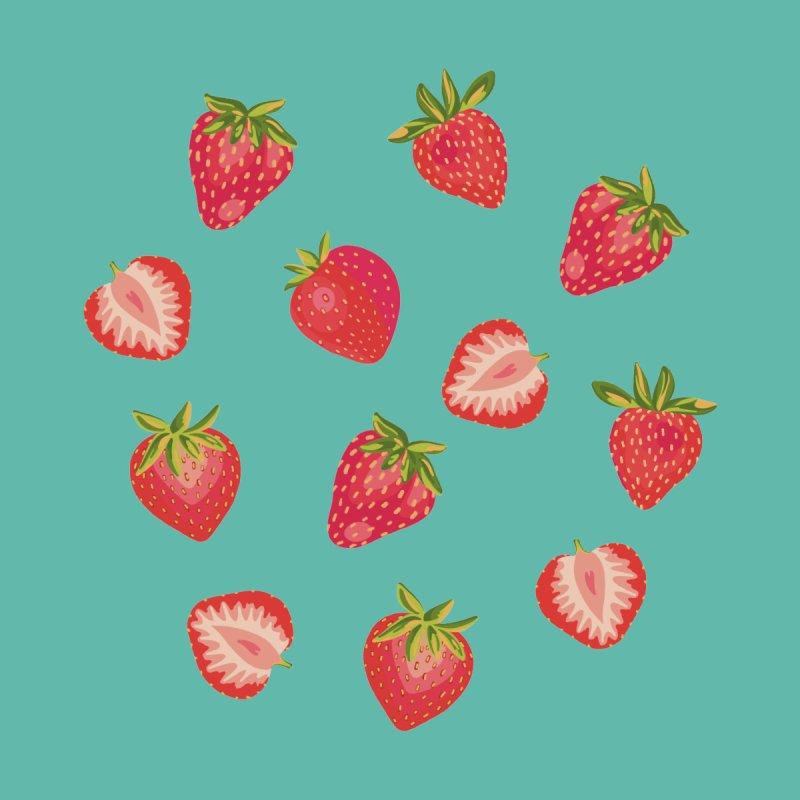English Strawberries on Dark Mint Men's T-Shirt by Zoe Chapman Design
