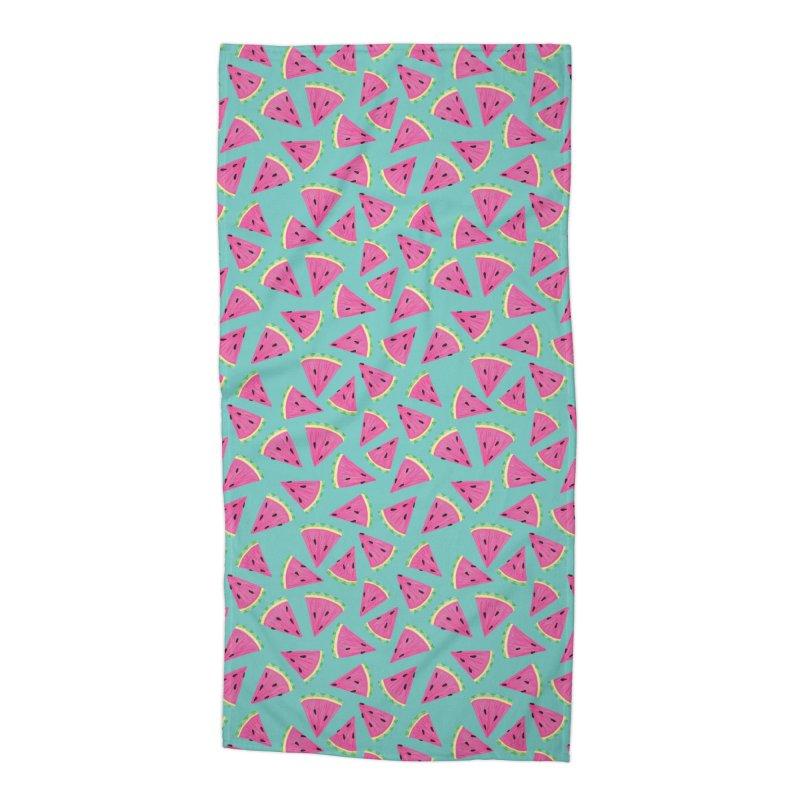 Watermelon Fruit Crush: Dark Mint Accessories Beach Towel by Zoe Chapman Design