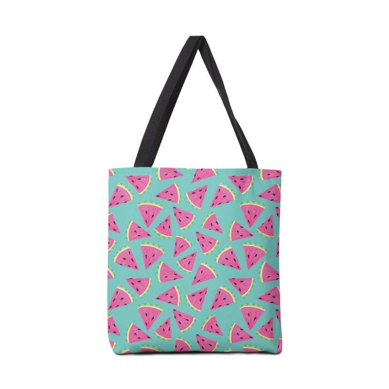 Watermelon Fruit Crush: Dark Mint Accessories Bag by Zoe Chapman Design