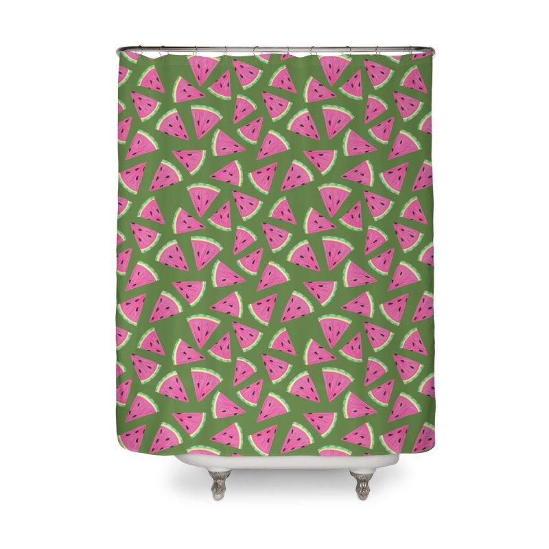 Watermelon Crush: Green Home Shower Curtain by Zoe Chapman Design