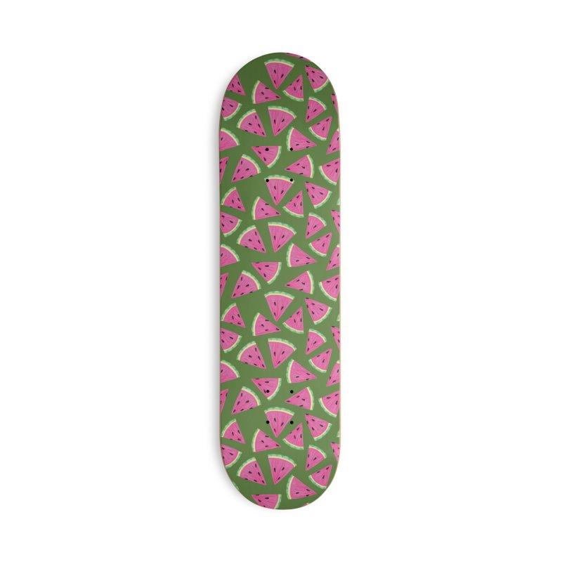 Watermelon Crush: Green Accessories Skateboard by Zoe Chapman Design
